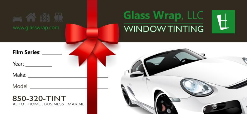 Window Tinting Gift Certificate